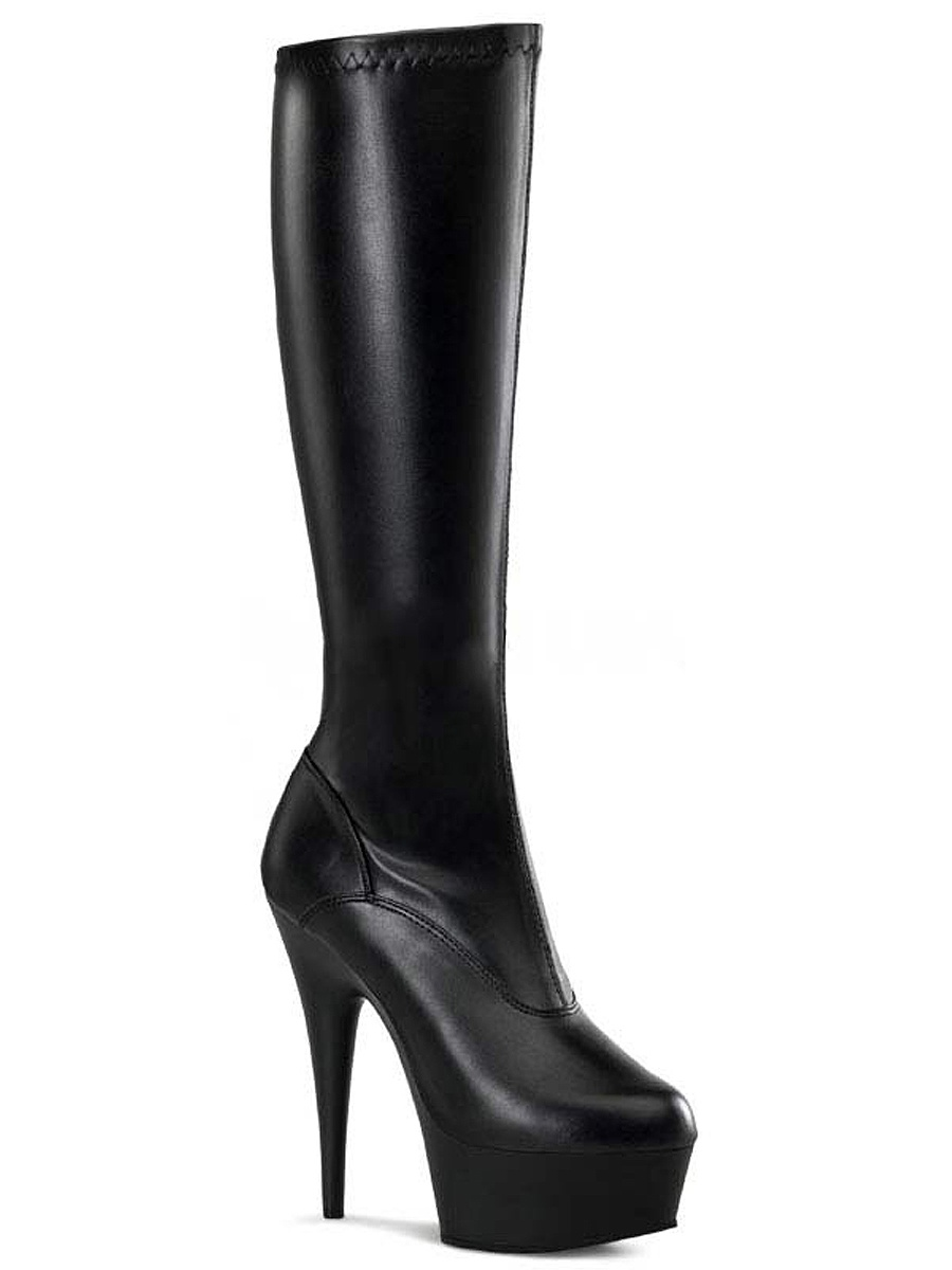 5 3/4 Inch Sexy Knee High Boot Stretch Side Zip  Black White