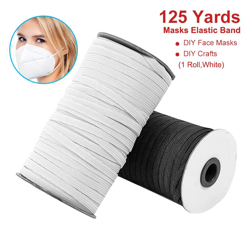 125 Yards Elastic Bands For Face Mask Woven Width Elastic Cord For Crafts Elastic Rope 1 4 Width 1 Roll Walmart Canada