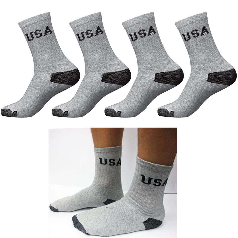 3 Pairs Mens Gray Solid Sports Athletic Work Crew Long Cotton Socks Size 10-13