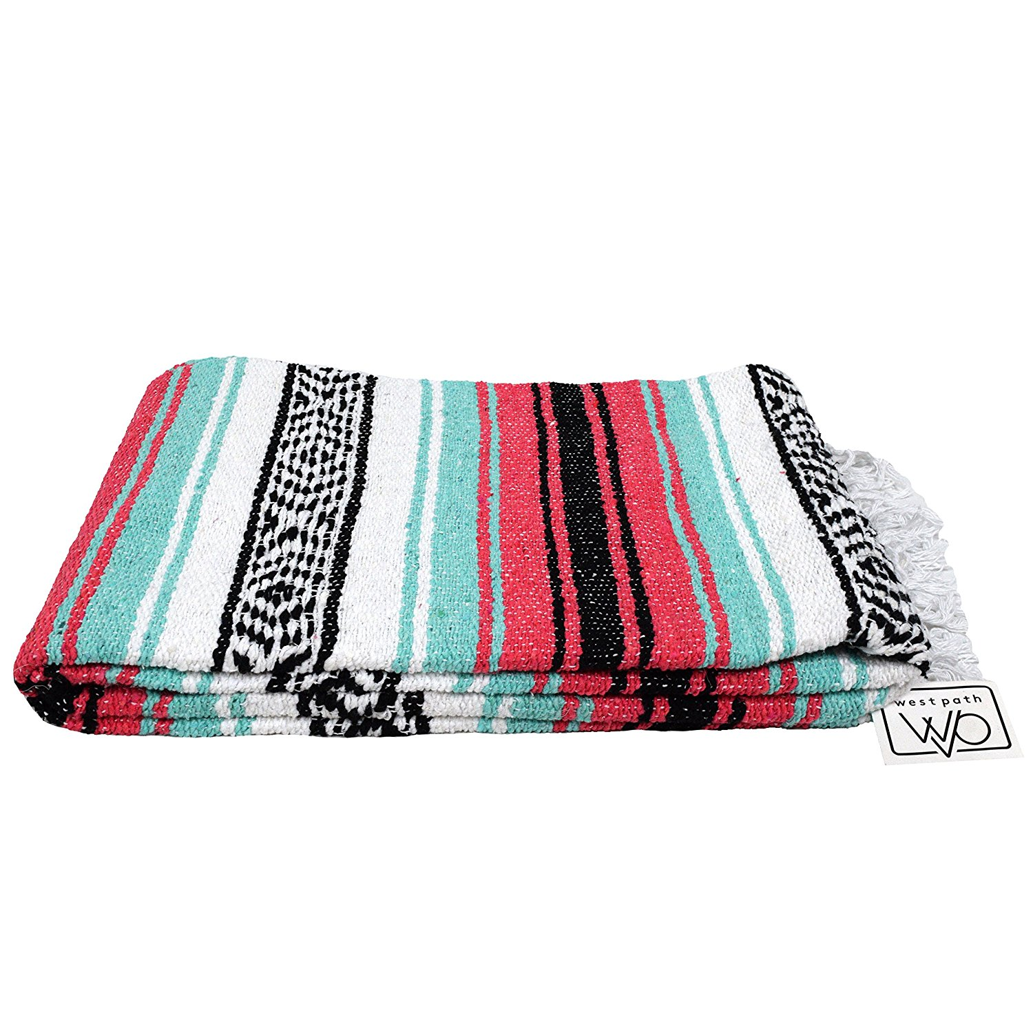 Open Road Goods Mint Green and Coral Red Pink Mexican Blanket Authentic Mexican Flasa... by
