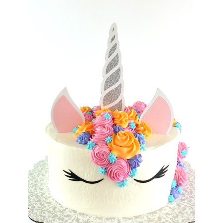 Handmade Unicorn Birthday Cake Topper Decoration - Made in USA with Double Sided Silver Pink Black White Glitter Stock **Cake not included** - Usc Decorations