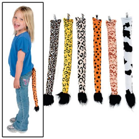 Animal Print Clip On Tails Costume Party Favor Lot of 6 (Animal Costume Party)
