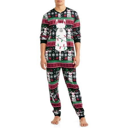 DEC 25TH Men's Sleep, Falallama Christmas Union Suit (Fun Onesies For Men)