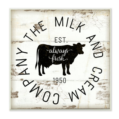 The Stupell Home Decor Collection Milk and Cream Company Vintage Sign Wall Plaque Art, 12 x 0.5 x (Vintage Frame Company)