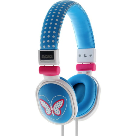 Quality Dj Headphones (Moki Popper Butterfly Blue, Soft Cushion DJ Style, Swivel Ear Cup)