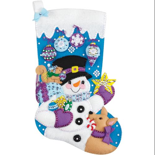 "Frosty's Favorite Ornament Stocking Felt Applique Kit-18"" Long"