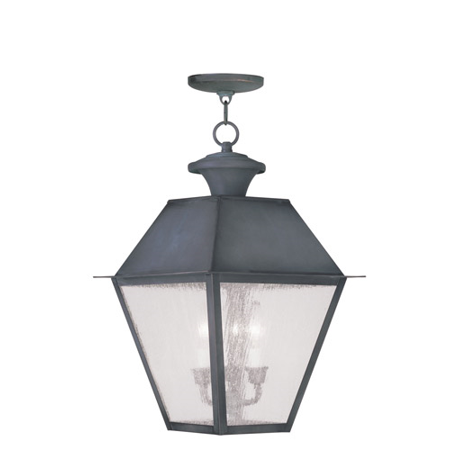 Outdoor Pendants 3 Light With Seeded Glass Charcoal size 12 in 180 Watts - World of Crystal ()