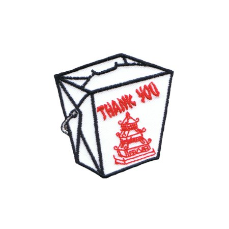 Chinese Food Take-Out Patch Fried Rice Box Oriental Restaurant Iron-On