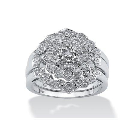 1/7 TCW Round Diamond Platinum over Sterling Silver 3-Piece Bridal Engagement Wedding Ring (Platinum Ladies Diamond Wedding Band)