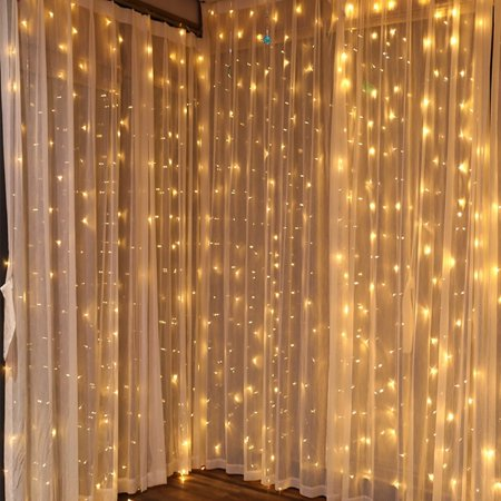 110V 9.8ft x 9.8ft 300LED Curtain Light Fairy String Lights Indoor Decoration Hanging Wall Lights For Bedroom Living Room Garden Party Wedding Christmas Xmas Decor 5 Colors ()