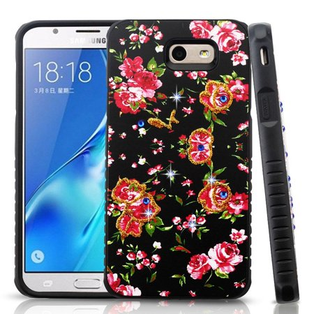 Insten Flowers Case Cover For Samsung Galaxy Halo / J7 (2017) / J7 Perx / J7 Prime / J7 Sky Pro / J7 V / J7V
