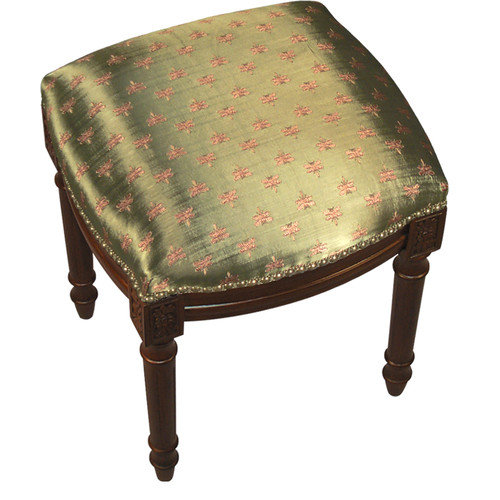 123 Creations Dragonfly Upholstered Vanity Stool with Nailheads