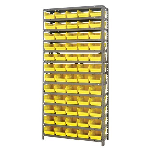 QUANTUM STORAGE SYSTEMS 1275-102BL Bin Shelving,Solid,36X12,60 Bins,Blue