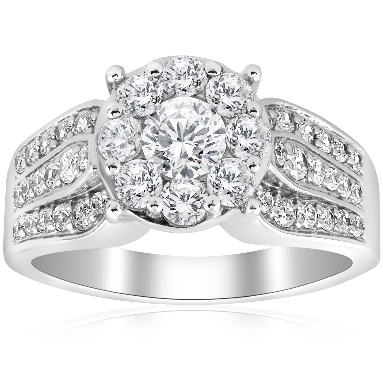 1 1 2ct Diamond Halo Engagement Ring Wide 3-Row Band 10K White Gold Solitaire by Pompeii3