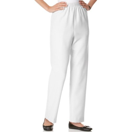 360 Honda Pants (Alfred Dunner Women's White Pull-On Elastic Waist Straight Leg Dress Pant)