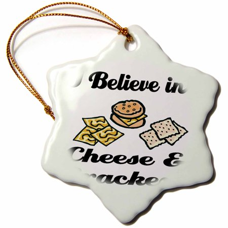 3dRose I Believe In Cheese And Crackers - Snowflake Ornament, 3-inch