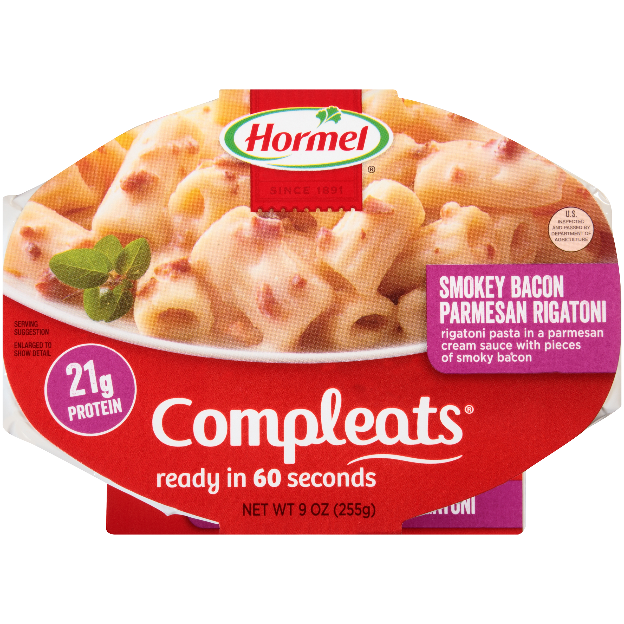Hormel Smokey Bacon Parmesan Rigatoni Compleats 9 oz. Sleeve by Hormel