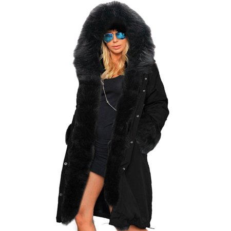 Stylish Ladies Women Lady Hooded Winter Warm Thick Faux Fur Coat ...