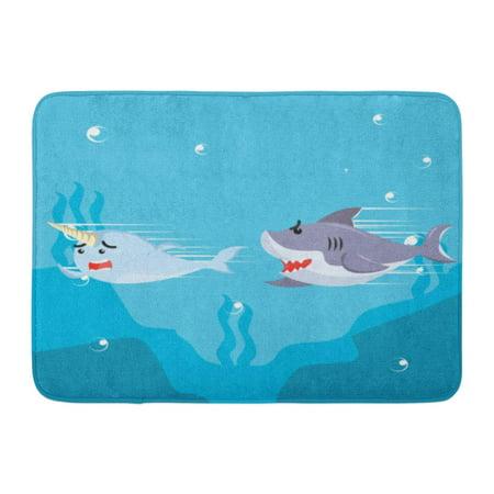 My Welcome Chase (SIDONKU Blue Cute Narwhal Chased by Shark Aquatic Cartoon Character Doormat Floor Rug Bath Mat 23.6x15.7)