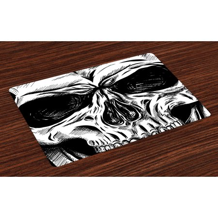 - Halloween Placemats Set of 4 Gothic Dead Skull Face Close Up Sketch Evil Anatomy Skeleton Artsy Illustration, Washable Fabric Place Mats for Dining Room Kitchen Table Decor,Black White, by Ambesonne