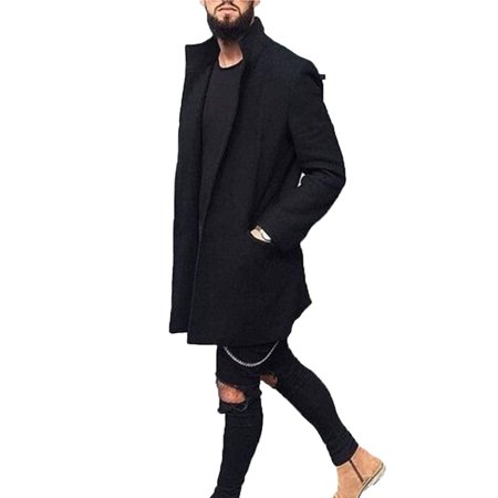 Cathery Men Winter Trench Lapel Casual Warm Outdoor Long Jacket