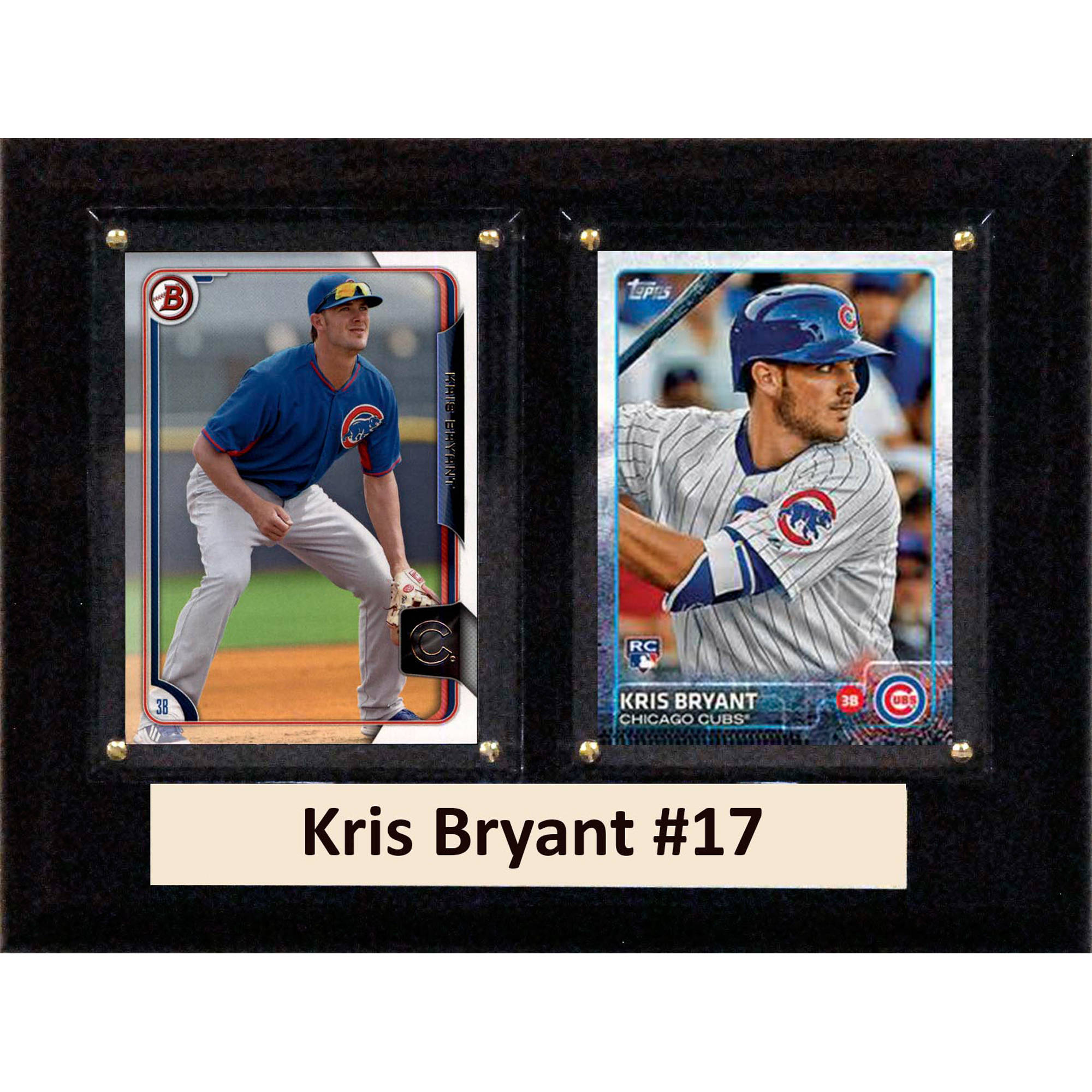 C&I Collectables MLB 6x8 Kris Bryant Chicago Cubs 2-Card Plaque