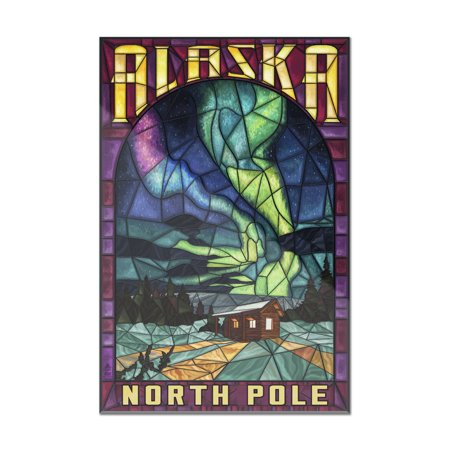 North Pole, Alaska - Cabin & Northern Lights Stained Glass - Lantern Press Artwork (8x12 Acrylic Wall Art Gallery Quality)