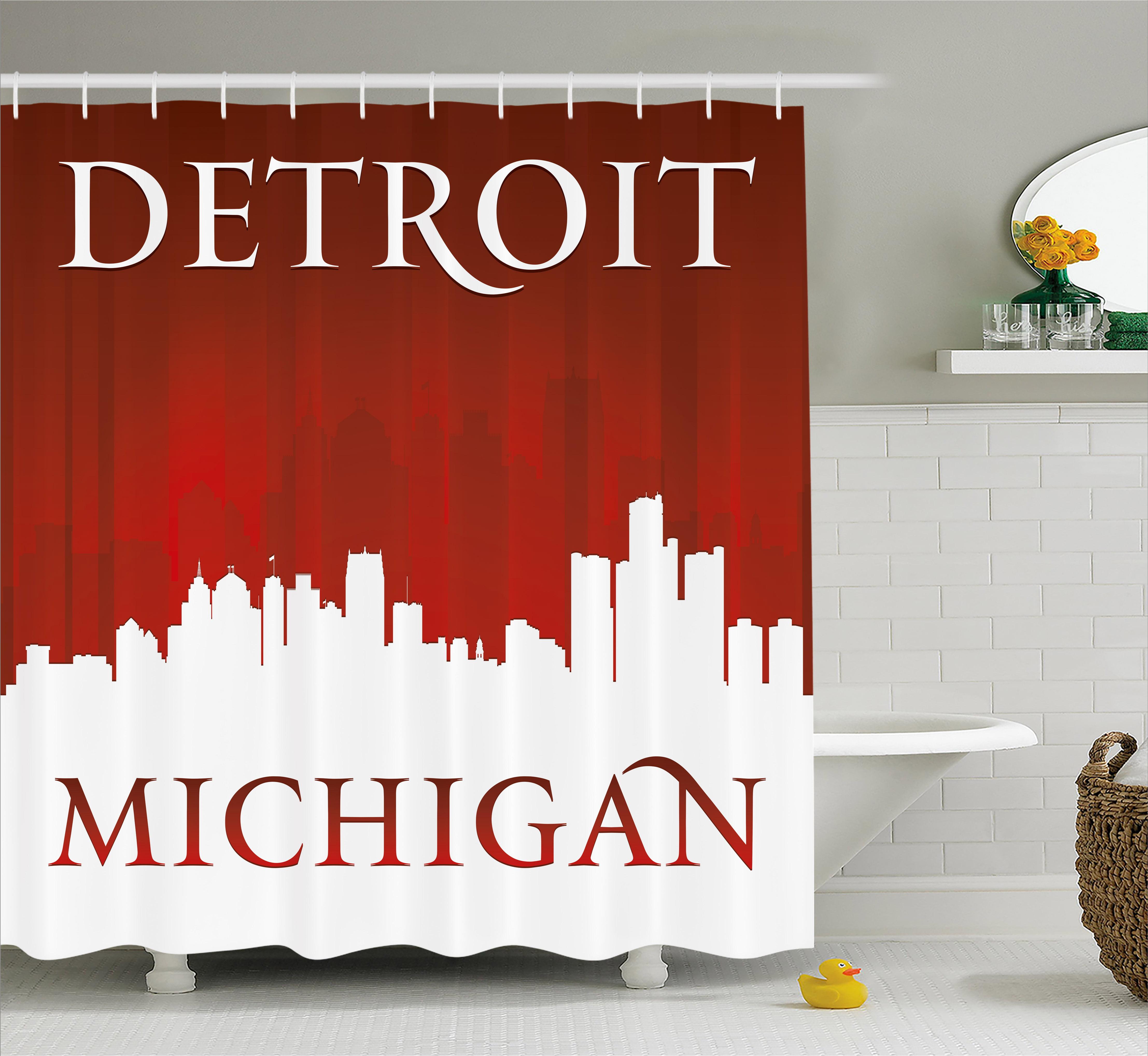 Detroit Decor Shower Curtain, Michigan City Silhouette Re...