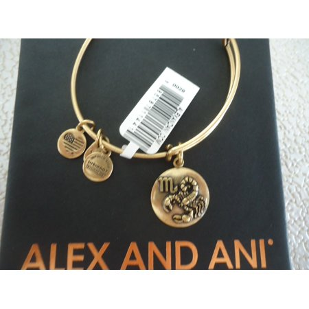 Alex And Ani Scorpio Iii Russian Gold Finish Charm Bangle New Withtag Card   Box