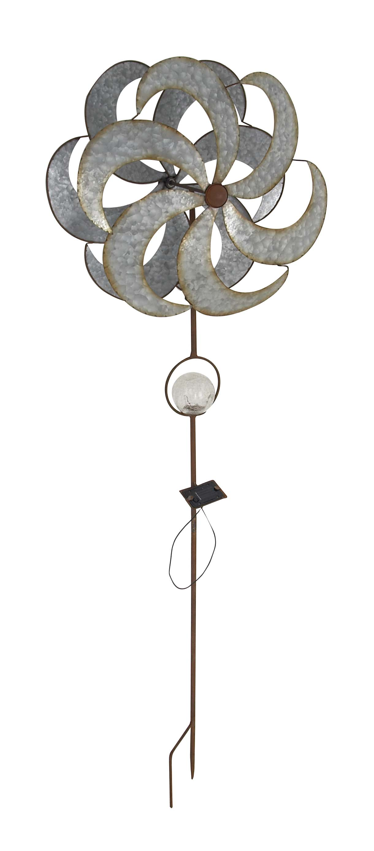Decmode Rustic Iron Solar 6-Bladed Windmill, Silver by DecMode