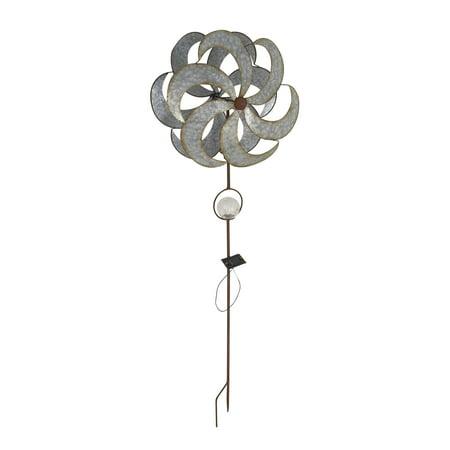 Solar Windmill - Decmode Rustic Iron Solar 6-Bladed Windmill, Silver