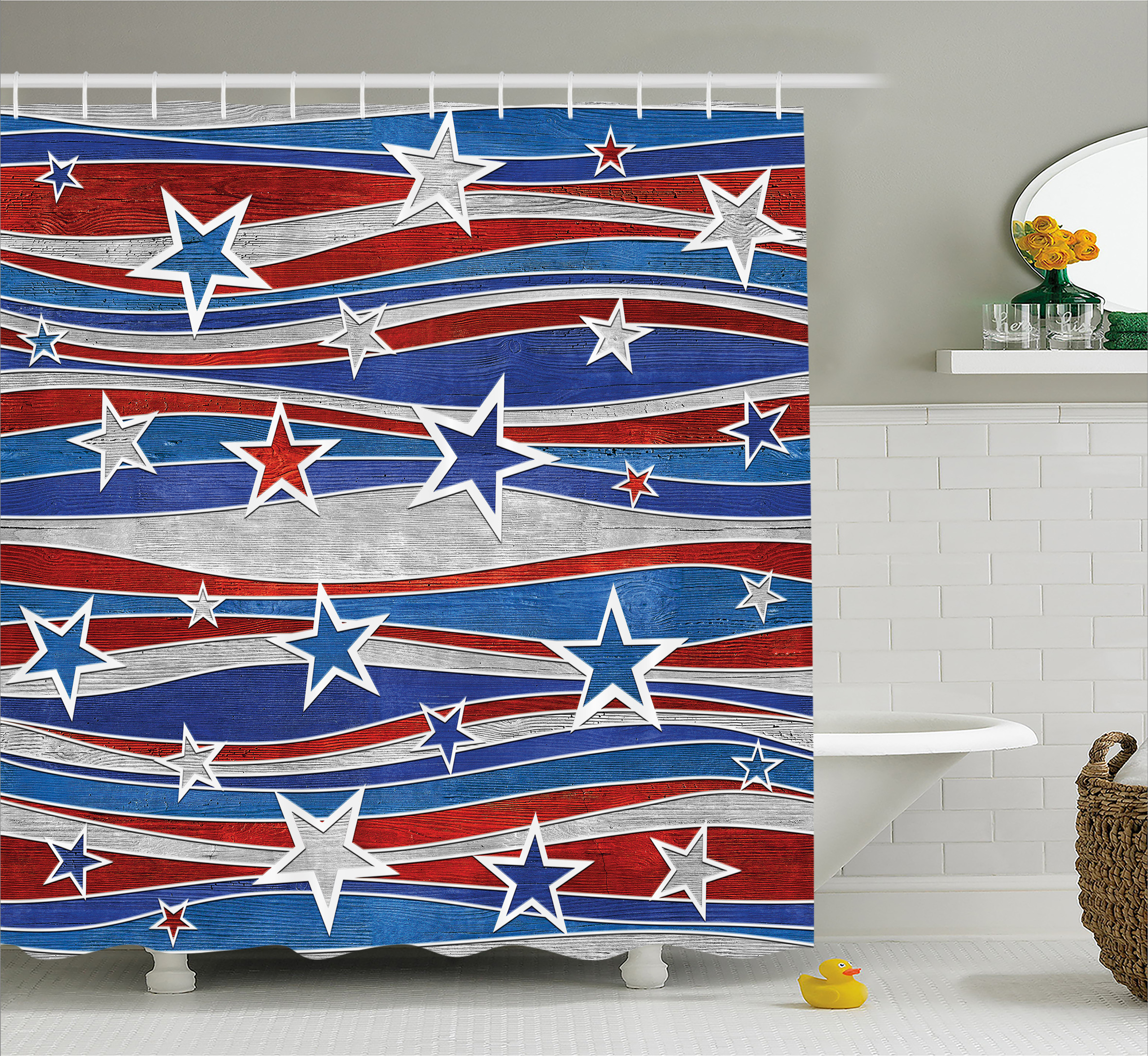 Rustic Home Decor Shower Curtain, Abstract Decor Pattern of Patriotic American Flag Figure Image, Fabric Bathroom Set with Hooks, 69W X 70L Inches, Red Blue and White, by Ambesonne