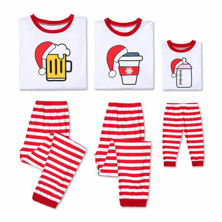 Family Matching Xmas Pyjamas Cute Pattern Long Sleeve Striped Pajamas PJs Sleepwear Outfits Set (Family Christmas Outfits)