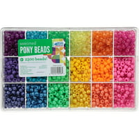 The Beadery Craft Products Rainbow Assorted Plastic Pony Beads 2300 Ct Box