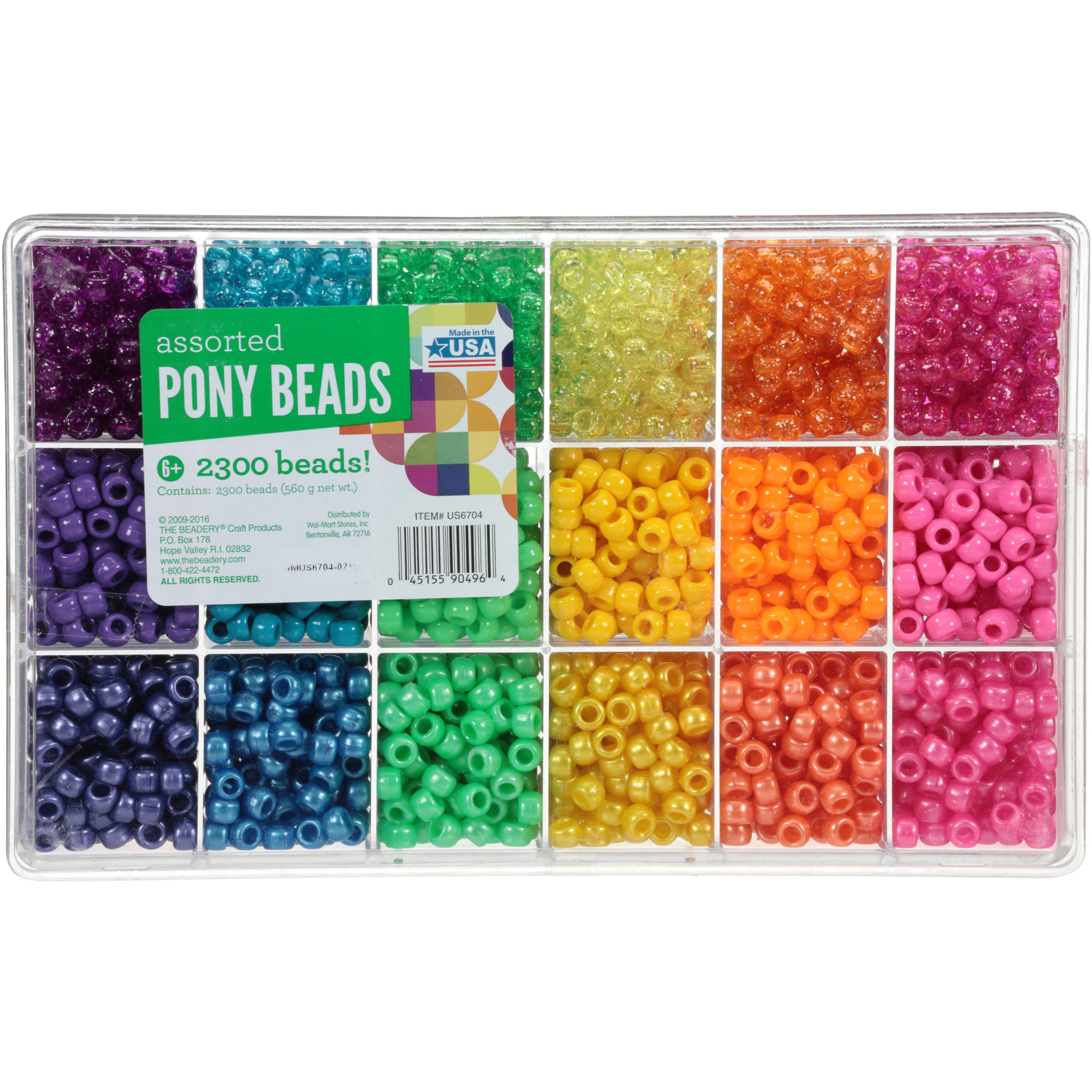 The Beadery® Craft Products Assorted Pony Beads 2300 ct Box