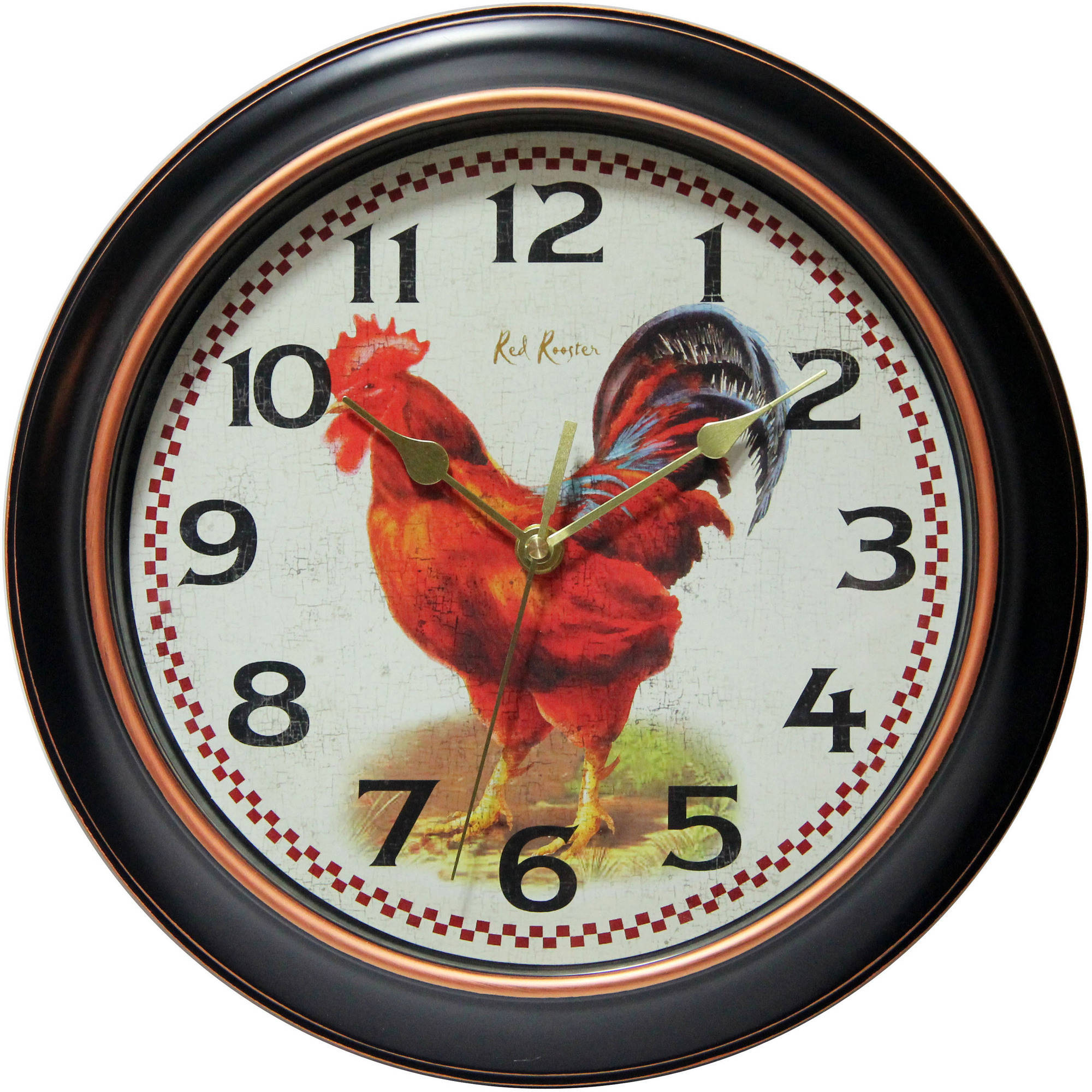 "Infinity Instruments Rotterdam 12"" Silent Rooster Wall Clock"