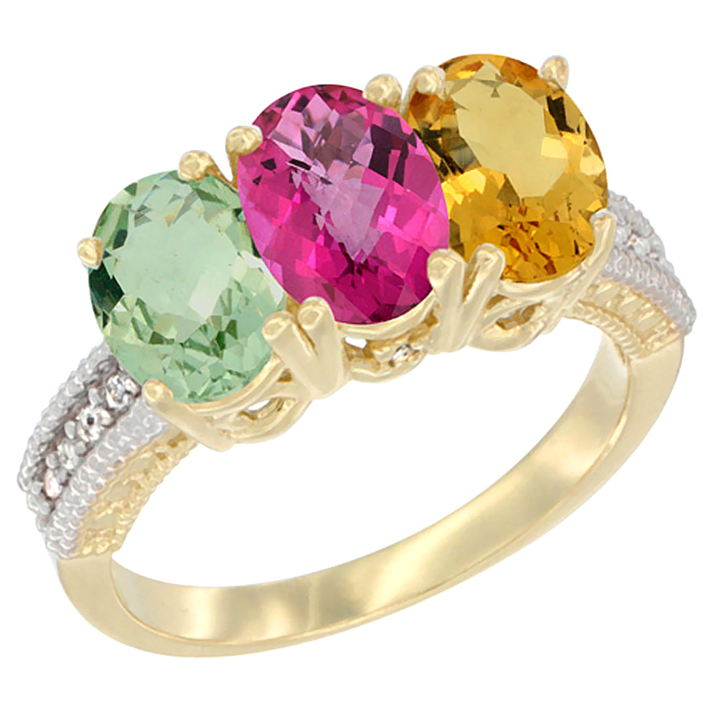 10K Yellow Gold Diamond Natural Green Amethyst, Pink Topaz & Citrine Ring Oval 3-Stone 7x5 mm,sizes 5-10 by WorldJewels