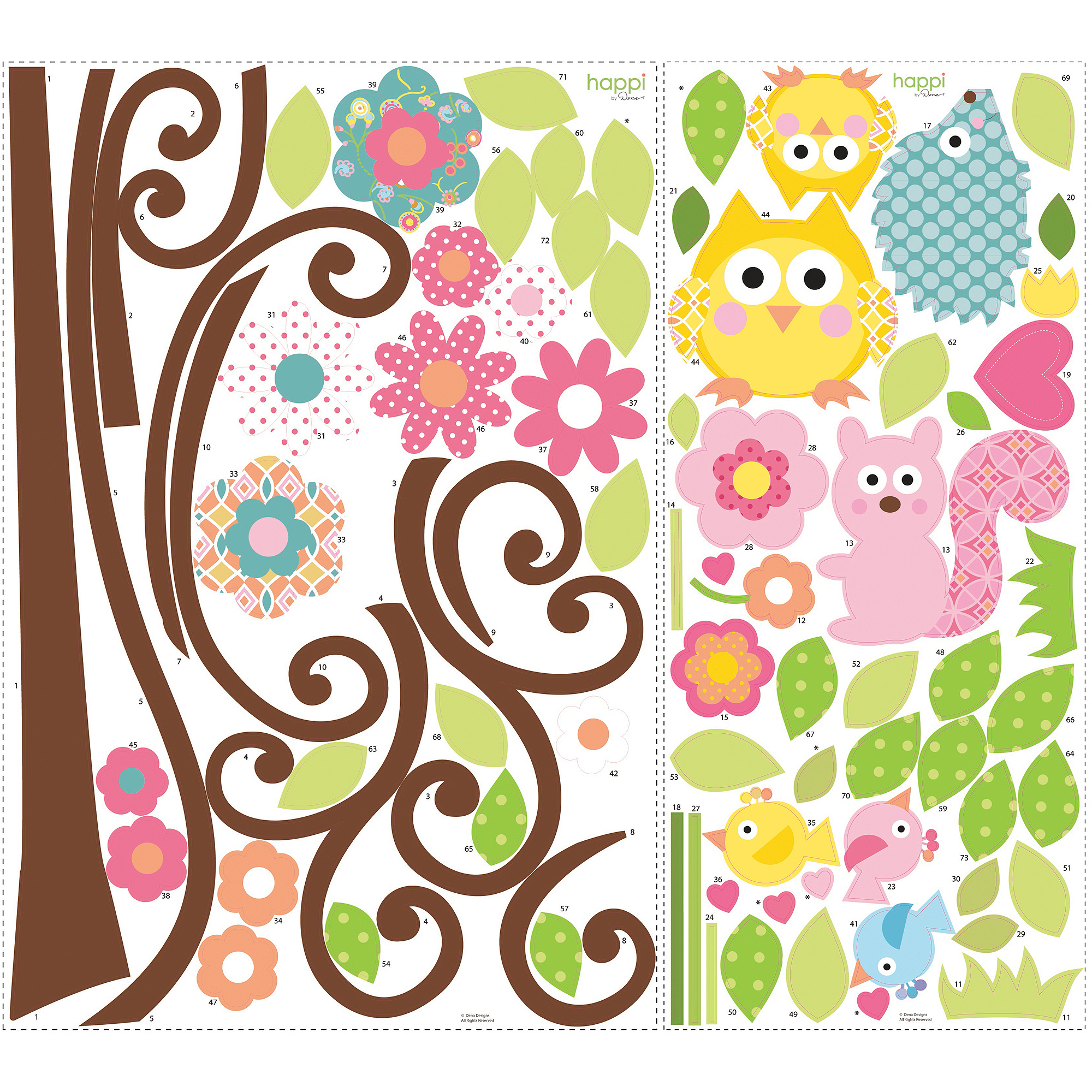 RoomMates - Peel & Stick Wall Decals Mega-Pack, Scroll Tree RMK1439SLM