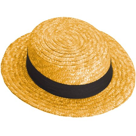 Adult Skimmer Hat Ricky Ricardo I Love Lucy Costume Natural Straw Color Summer ()
