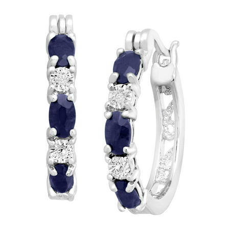 2 1/10 ct Natural Sapphire Hoop Earrings with Diamond Accents in Platinum-Plated Brass