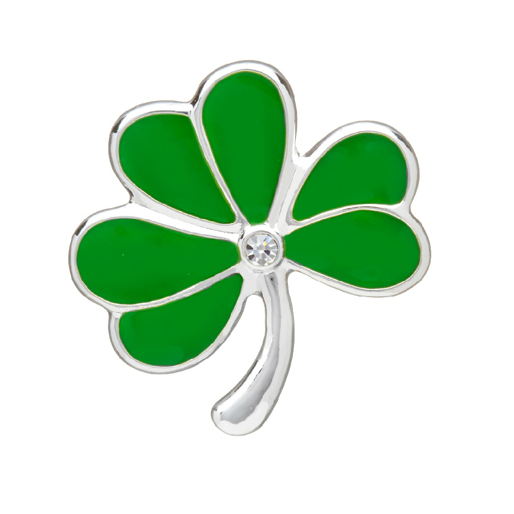 Shamrock Brooch Silver Plate & Green Enamel Irish Made by Amethyst Dublin