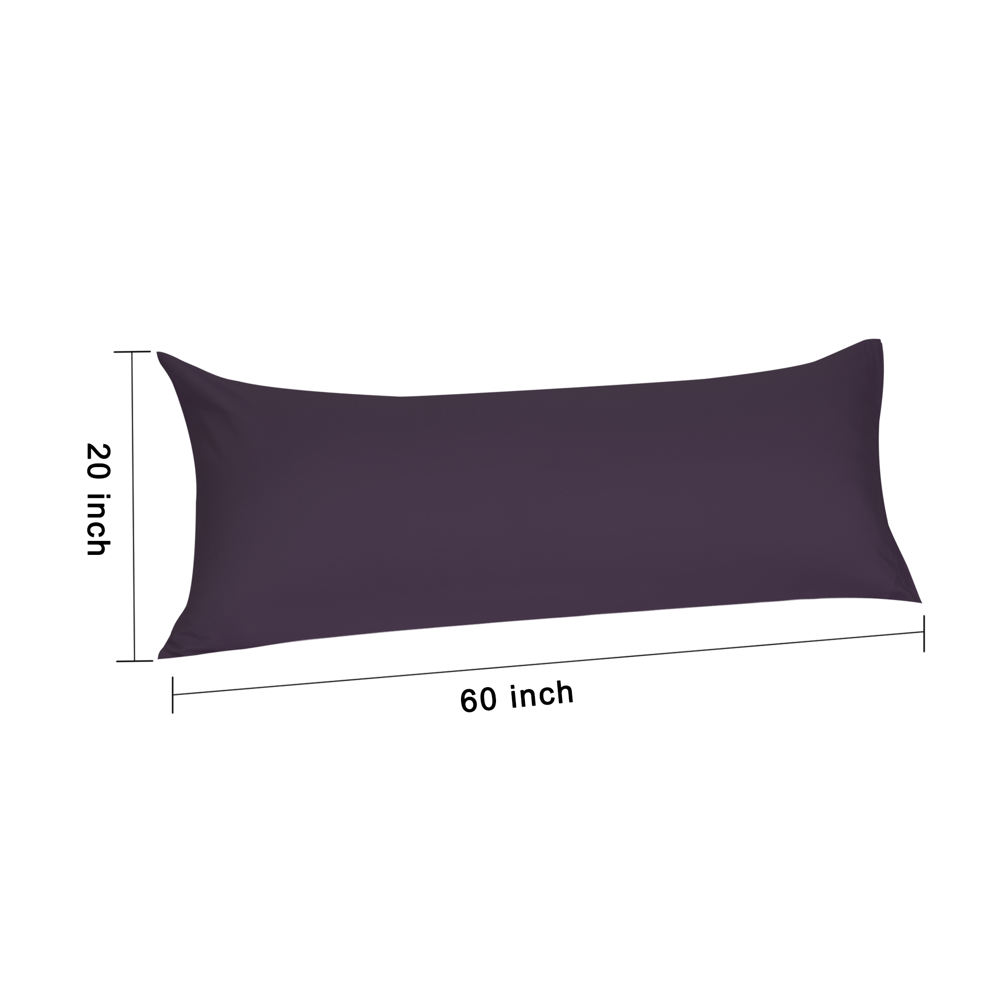 Zippered Body Pillow Case Cover Soft Microfiber Long Pillowcases Eggplant 20x60 - image 6 of 8