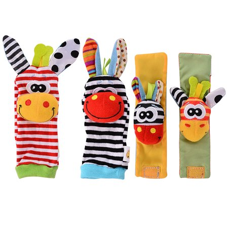 - 4 x Newest Wrist Rattles Hands Foots finders Baby Infant Soft Toy Developmental