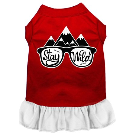 Stay Wild Screen Print Dog Dress Red With White Sm (10)