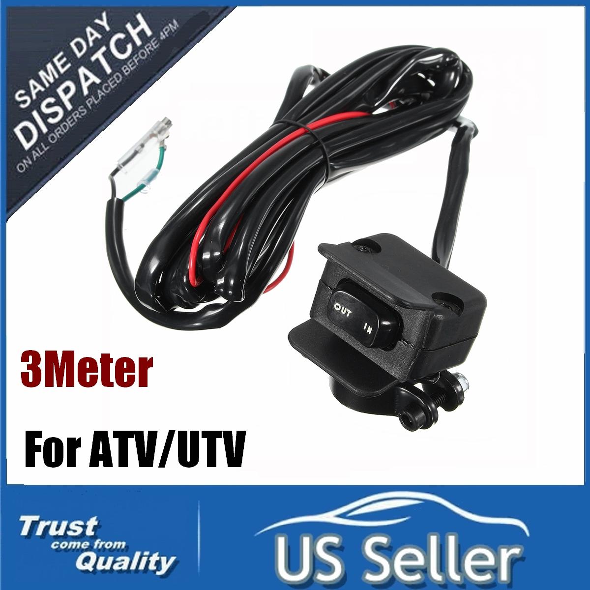 12V Solenoid Relay Contactor /& Winch Rocker Thumb Switch Combo for ATV UTV