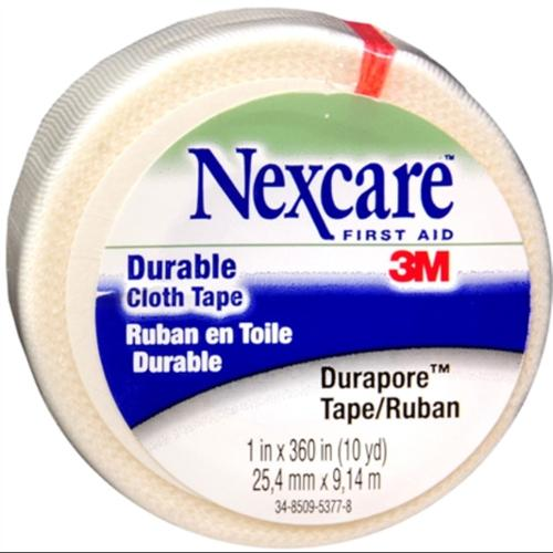 Nexcare Durapore Durable Cloth Tape 1 Inch X 10 Yards, 12 Pack (12 rolls per carton) (Pack of 4)