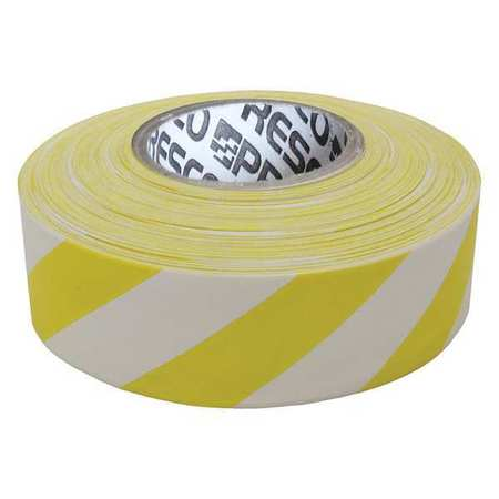 PRESCO PRODUCTS CO SWY-188 Flagging Tape, Wh/Yllw, 300 ft x 1-3/16 In
