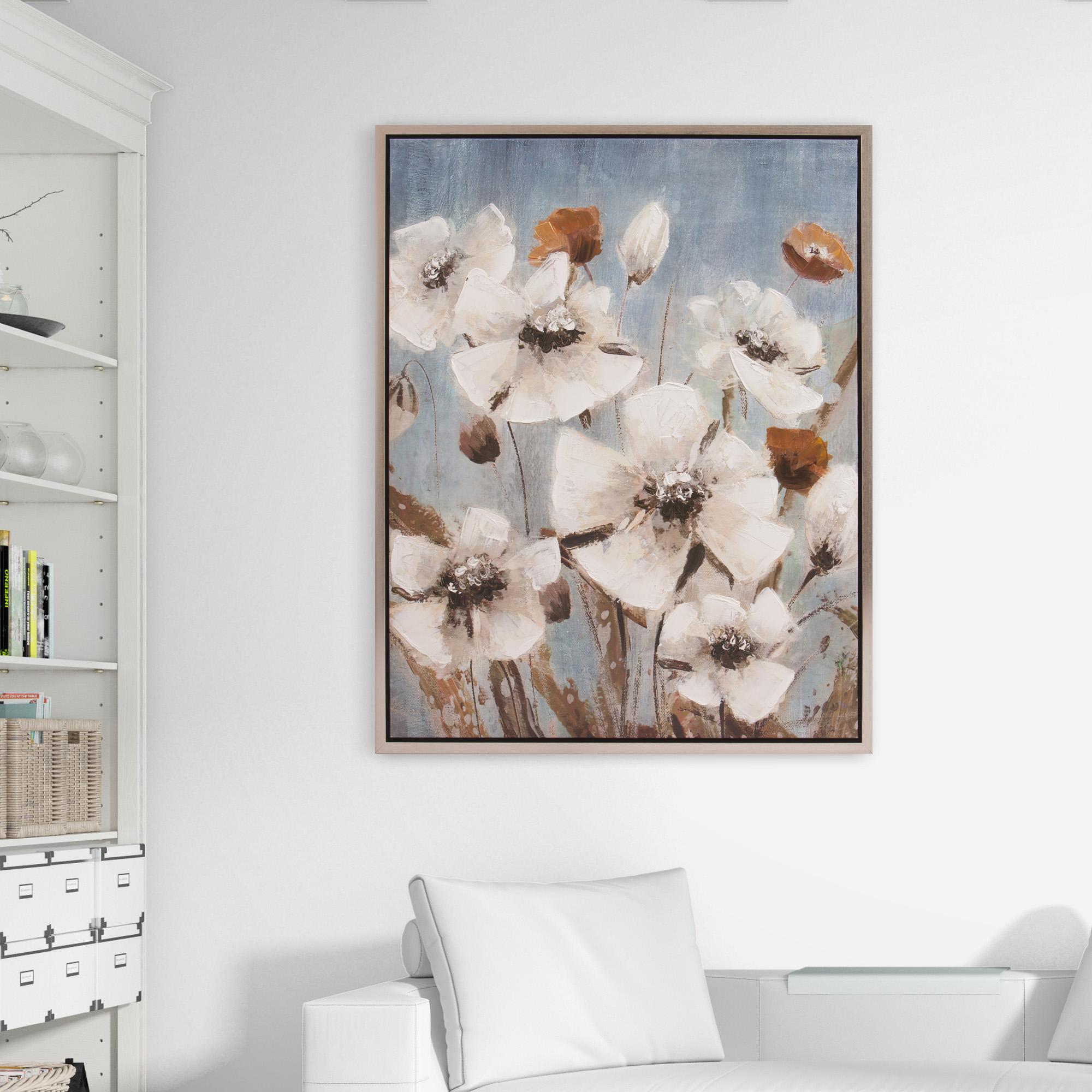 Patton Wall Decor White Poppy Field Floral 30 x 38 Framed Canvas Art Silver