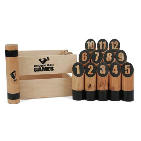 Grown Man Games Number Kubb - Viking Bowling Lawn Game - Premium Hardwood Throwing Game - Number Kubb Original Yard Game - Numbered Skittles (12 Pin) Outdoor - Halloween Witch Bowling Game