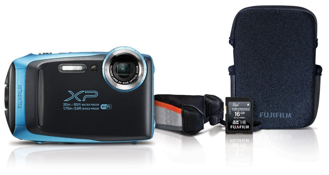 Fujifilm finepix xp130 waterproof digital camera sky blue with